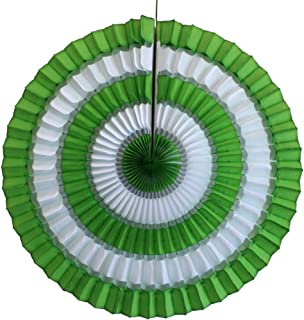 product image for 3-Pack 16 Inch Striped Honeycomb Tissue Paper Fan Decoration (Lime Green/White)