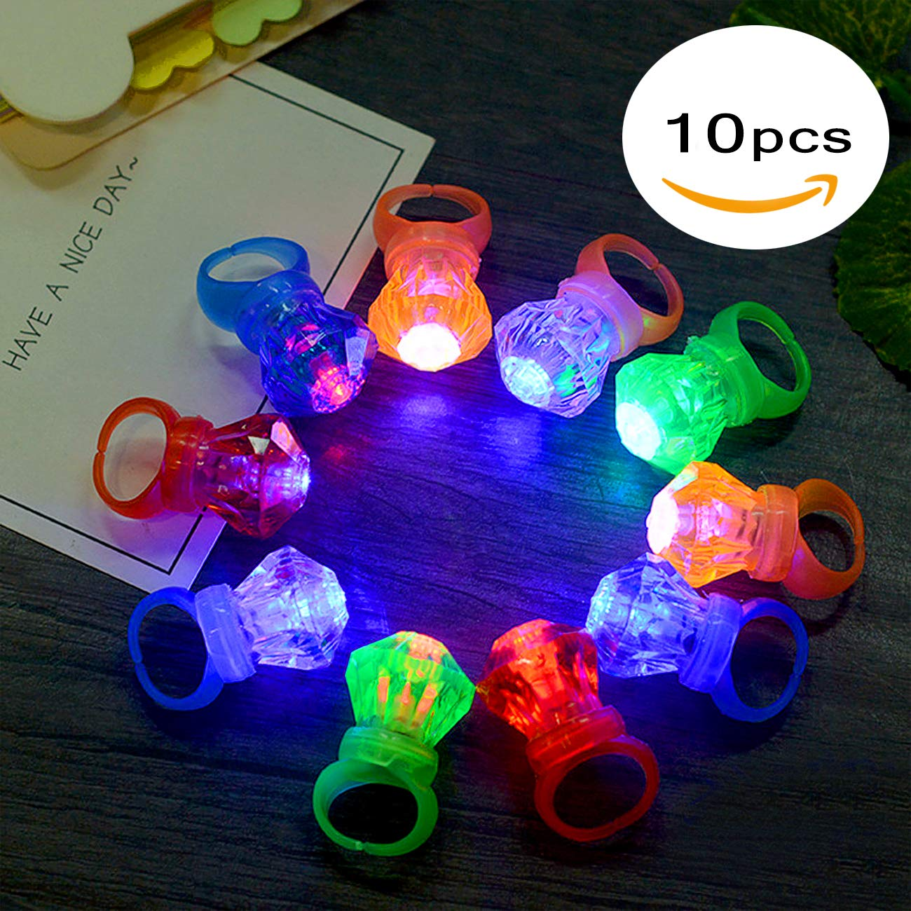 FYT 60 PCS LED Light Up Toys Glow In The Dark Party Supplies,Party Favors For Kids、Parents、Friends,With 40 LED Finger Lights+10 LED Lighted Rings+ 5 Bracelets+ 5 Flashing Slotted Shades Glasses by FYT (Image #2)
