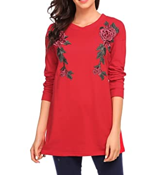 249335797f8 Women Tunic Tops Long Sleeve Flower Print Blouse T Shirts Plus Size Wine Red