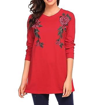 bcb33ca979d Women Tunic Tops Long Sleeve Flower Print Blouse T Shirts Plus Size Wine Red