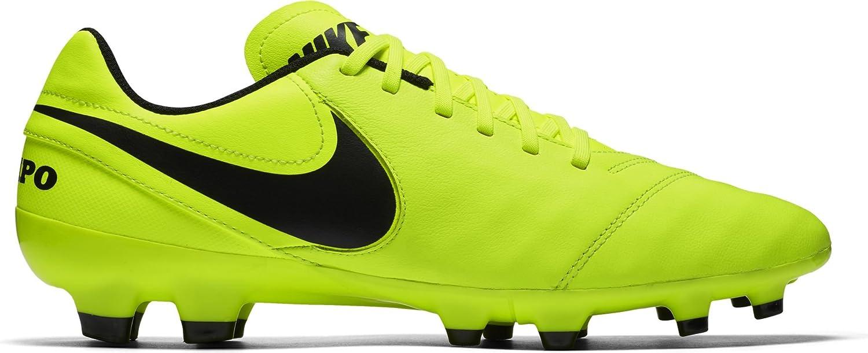 Nike Herren Tiempo Genio Ii Leather Fg Laufschuhe, Mehrfarbig  40.5 EU|Gelb (Volt/Black-volt)
