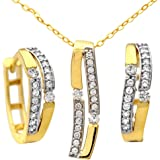 Citerna 9ct Double Row Cubic Zirconia Earrings and Pendant Set of 46cm