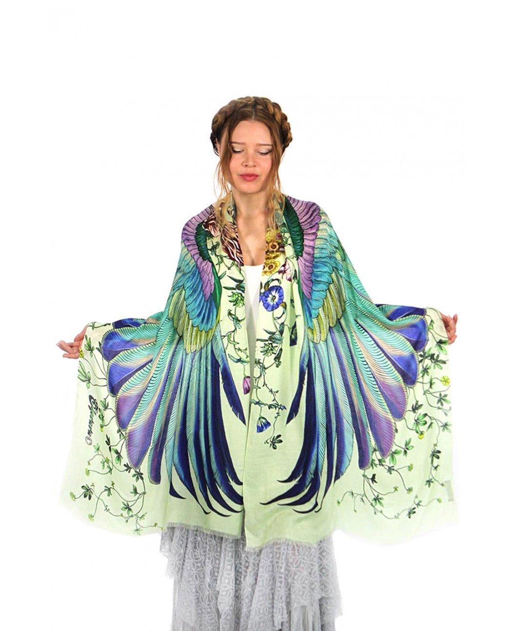 Sublime Hand Painted Designer Scarf Silk Cashmere Summer Shawl