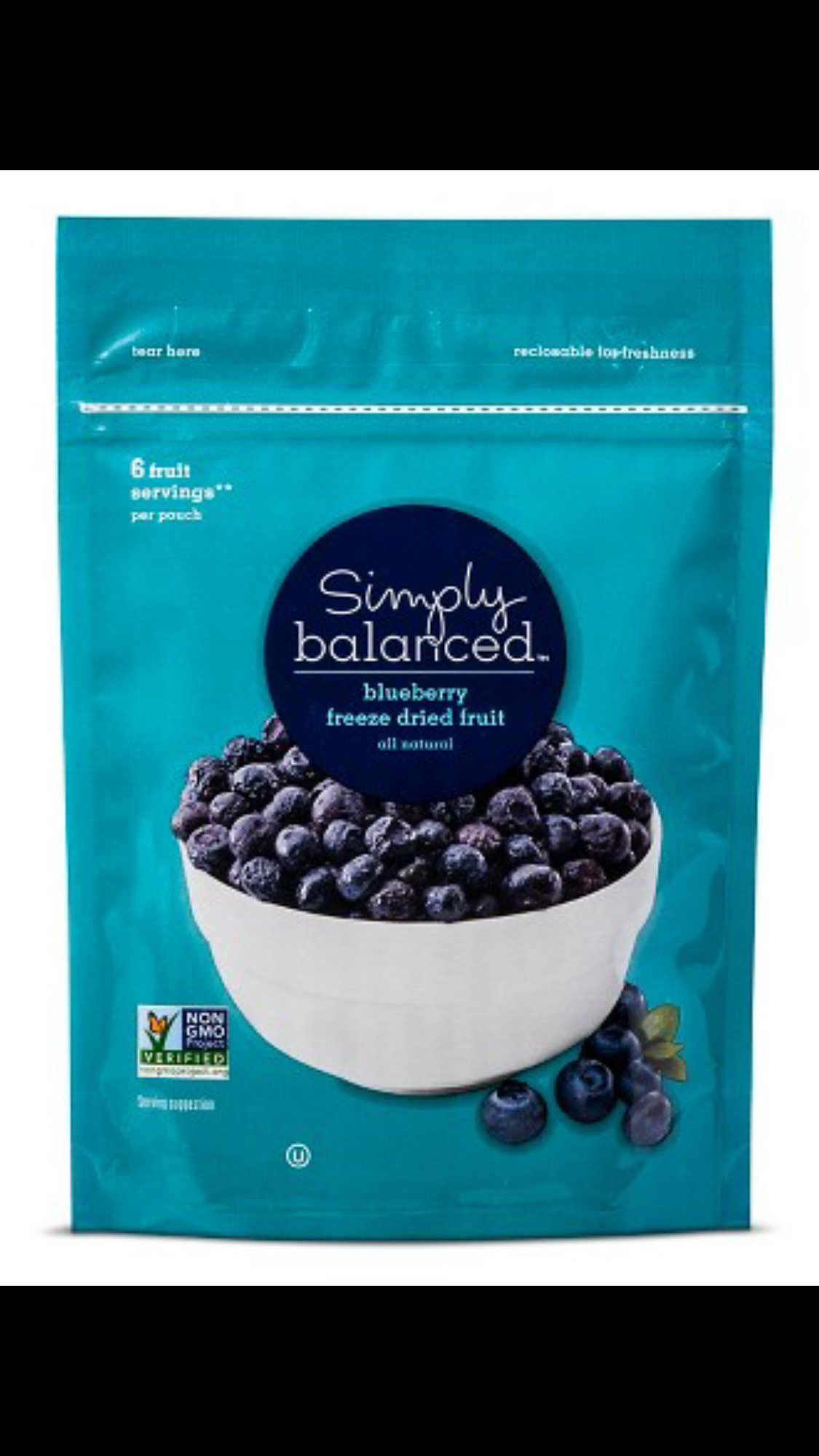 Simply Balanced Blueberry Freeze-Dried Fruit All Natural 6 Fruit Servings Per Bag