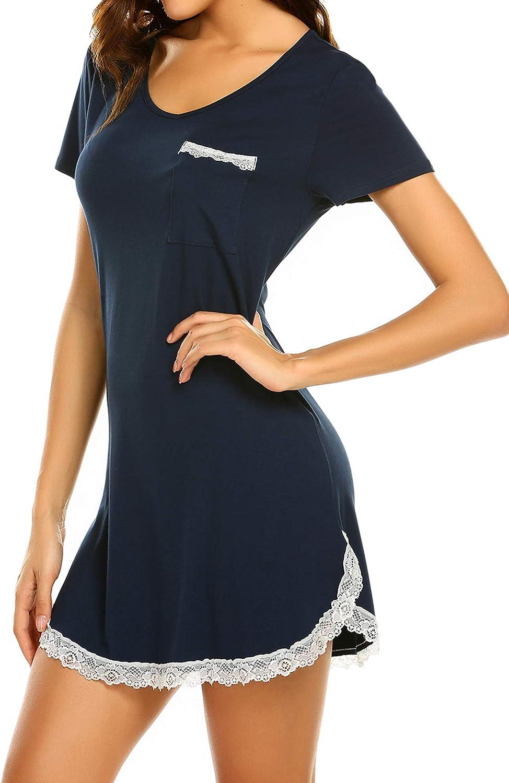 Ekouaer Nightgowns for Womens Sexy Sleep Shirt Dress V Neck Short Sleeve Lace Trim Soft Short Night Shirts XS-3XL