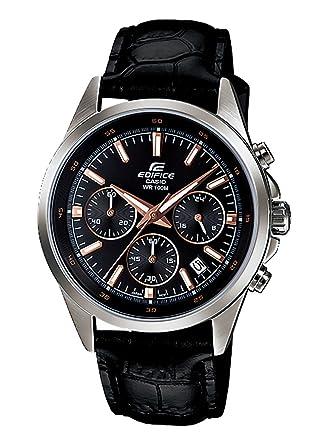 レザー カシオ ブラック クロノ CASIO EDIFICE メンズ クロノグラフ エディフィス 腕時計