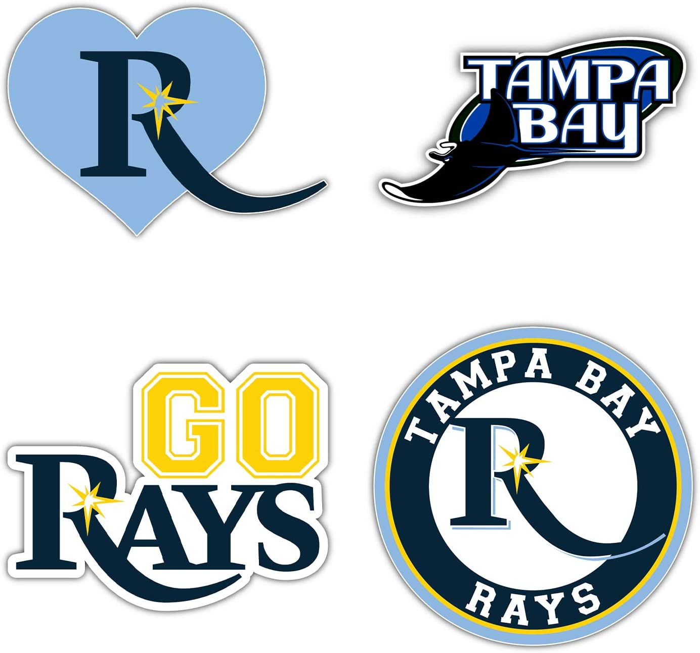 "Tampa Bay City Ray Baseball Die-Cut Sticker - Set of 4 Decal 5"" Longer Side"