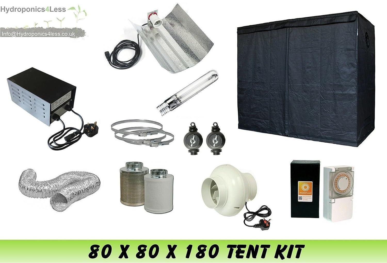 Complete Hydroponic Grow Room Tent Fan Filter HPS Light Kit 250 watt 80x80x180 (0.8 x0.8x1.8m (80x80x180)) hydroponics4less