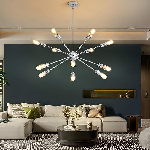 KDG Chandeliers 12-Lights Modern Sputnik Chandeliers Mid Century Pendant Lighting Brushed Nickel Ceiling Light Fixture
