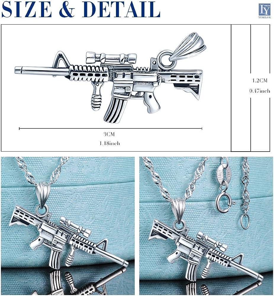 Yumilok Jewelry Collier en argent 925 le pendentif de fusil M416 Unique et /à la mode Cadeau parfait pour femme fille