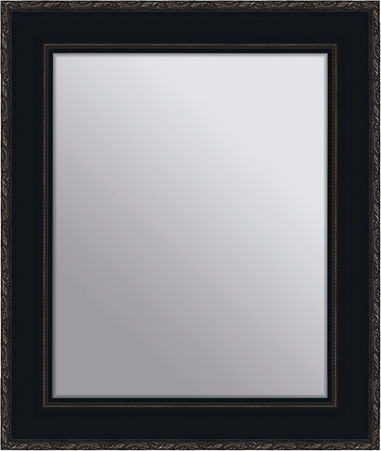 Yosemite Home Decor YMHF981516 Flower Finished Frame Mirror, Black and Antique Silver