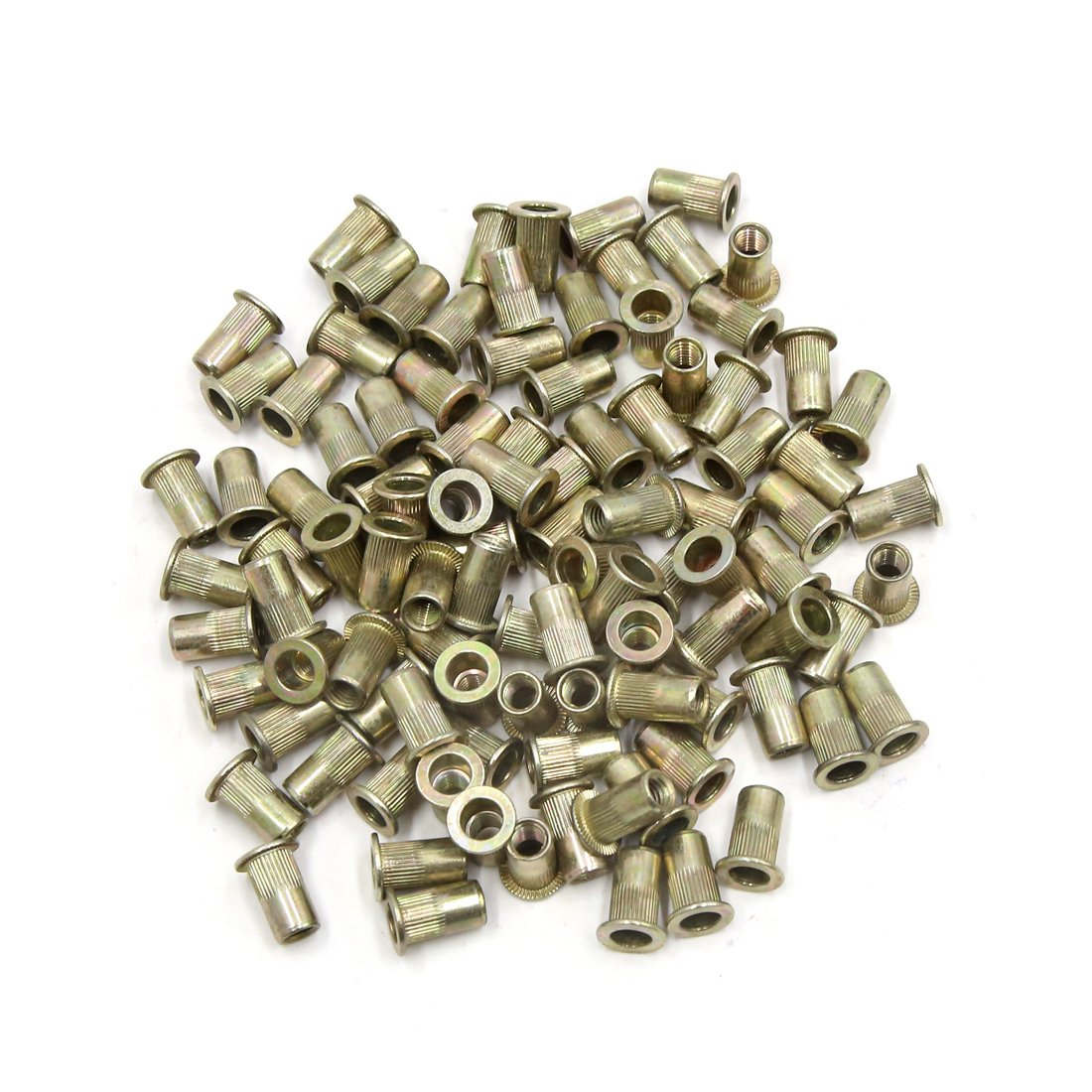 uxcell a17052500ux0286 100Pcs M5 Gold Tone Stainless Steel 304 Flat Head Type Rivet Nut Insert Nutsert, 100 Pack