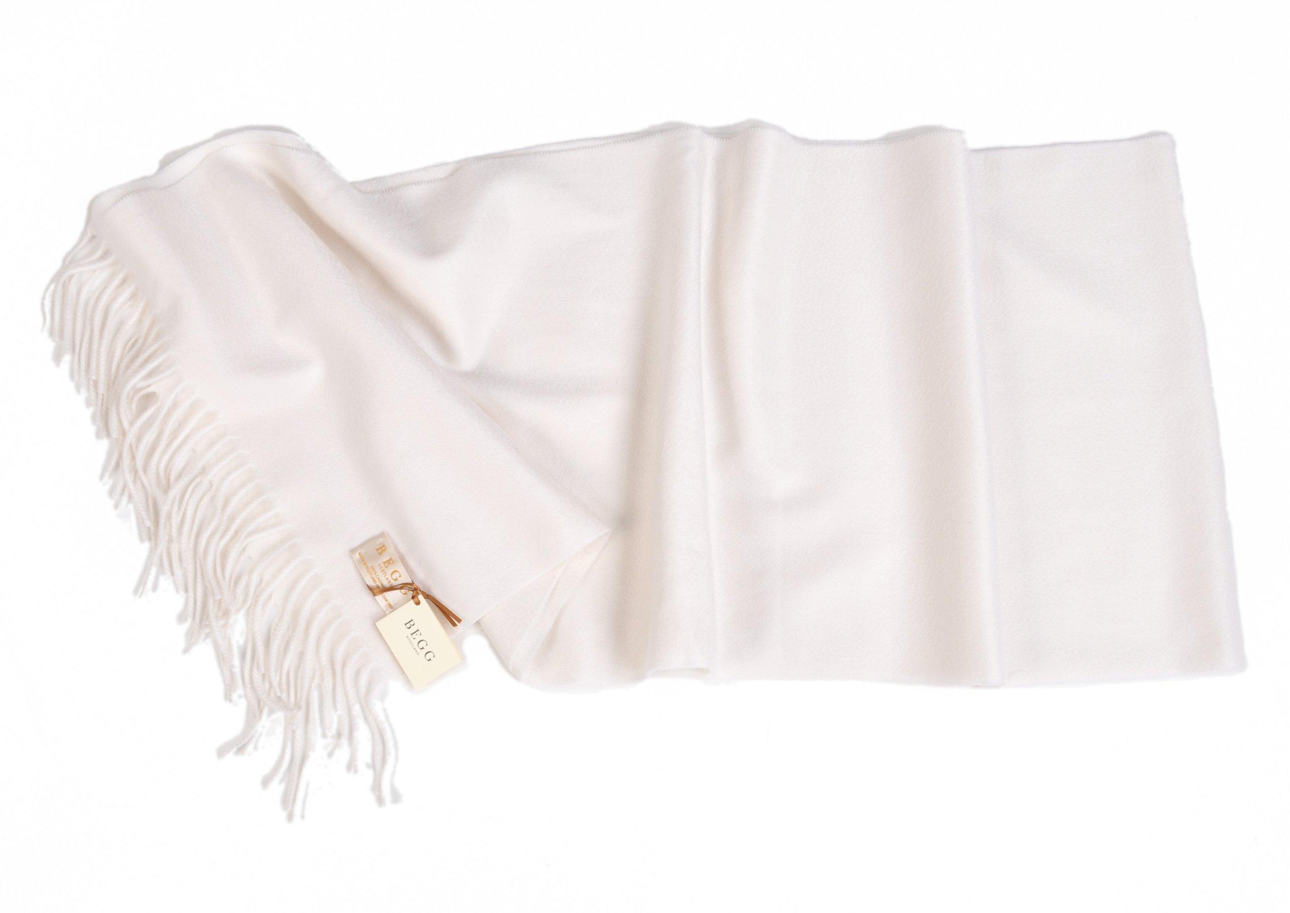 Begg-Scotland 14''x72'' Pure Luxury Cashmere Large Scarf - White