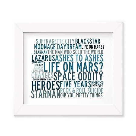Lyrics Gift Signed Art David Bowie Poster Print Ziggy Stardust