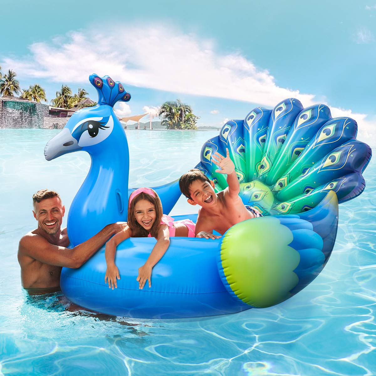 iBaseToy Giant Inflatable Peacock Pool Float, Pool Island, Beach Floaties for Swim Pool Party Toy Summer Pool Raft Pool Float for Adults & Kids -78.74''x 74.8''x 56.29''