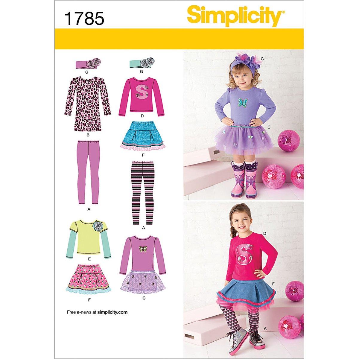 Amazon.com: Simplicity Pattern 1785 Girls Sportswear: Skirt and Knit ...