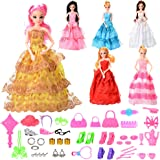 Total 46PCS - 6Pcs Barbie Dresses and 40Pcs Barbie Dolls Accessories, Quality Fashion Wedding Party Gown Accessories Pack for Girls  Birthday XMAS-Gifts by Sakiyr (Barbie Doll Not Included)