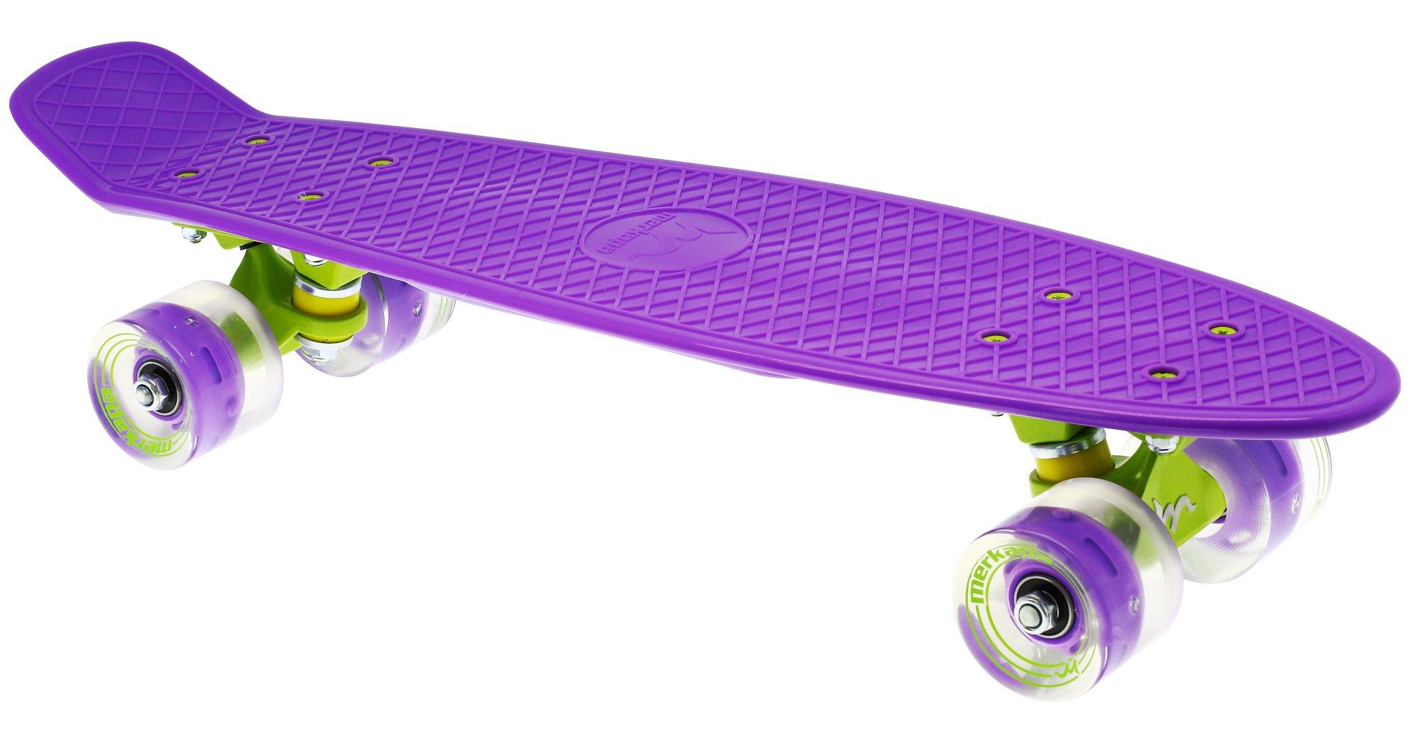 Merkapa 22'' Complete Skateboard with Colorful LED Light Up Wheels for Beginners (Purple)