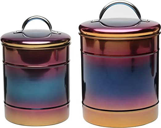 Amici Home Rainbow Anodized Iridescent Finish 38 & 64 oz Metal Storage Canisters, Set of 2