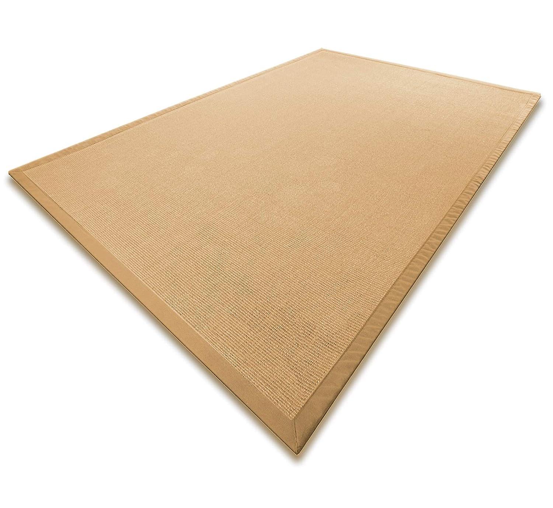 Casa pura® Sisal Teppich aus Naturfasern mit Bordüre aus Baumwolle   Pflegeleicht   Größe wählbar (Natur, 140 x 200 cm)