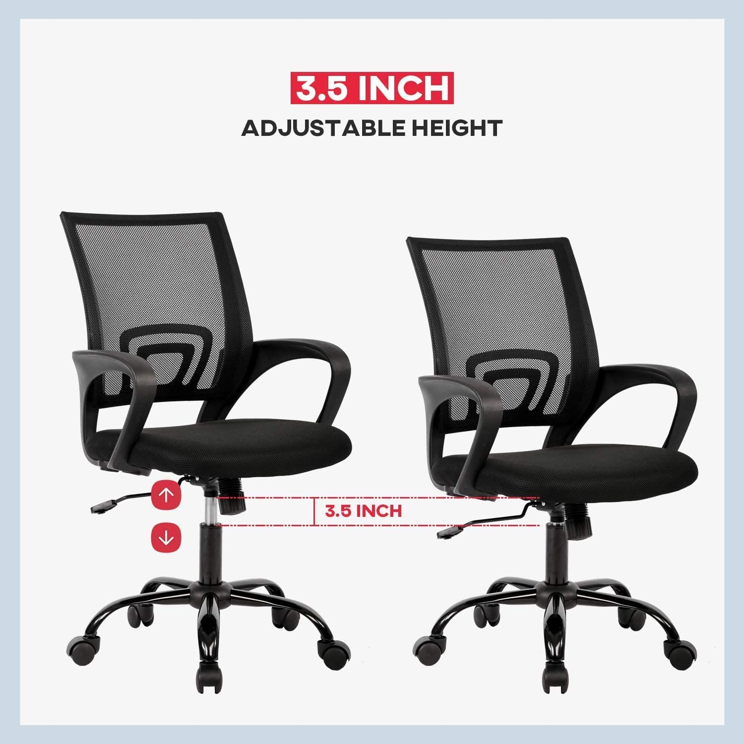 Office Chair Ergonomic Desk Chair Mesh Computer Chair Lumbar Support Modern Executive Adjustable Stool Rolling Swivel Chair for Back Pain, Black: Furniture & Decor