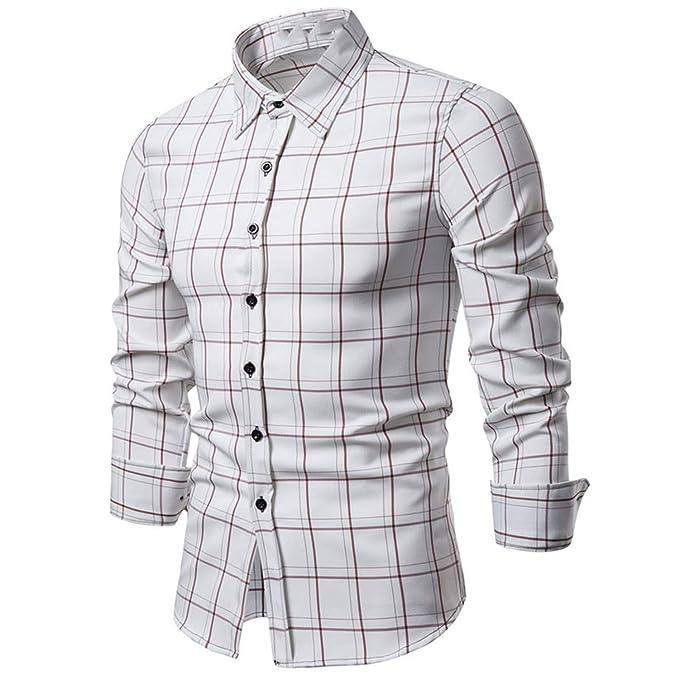 Camisa a Cuadros de Hombre Camisas de algodón de Manga Larga Otoño ...