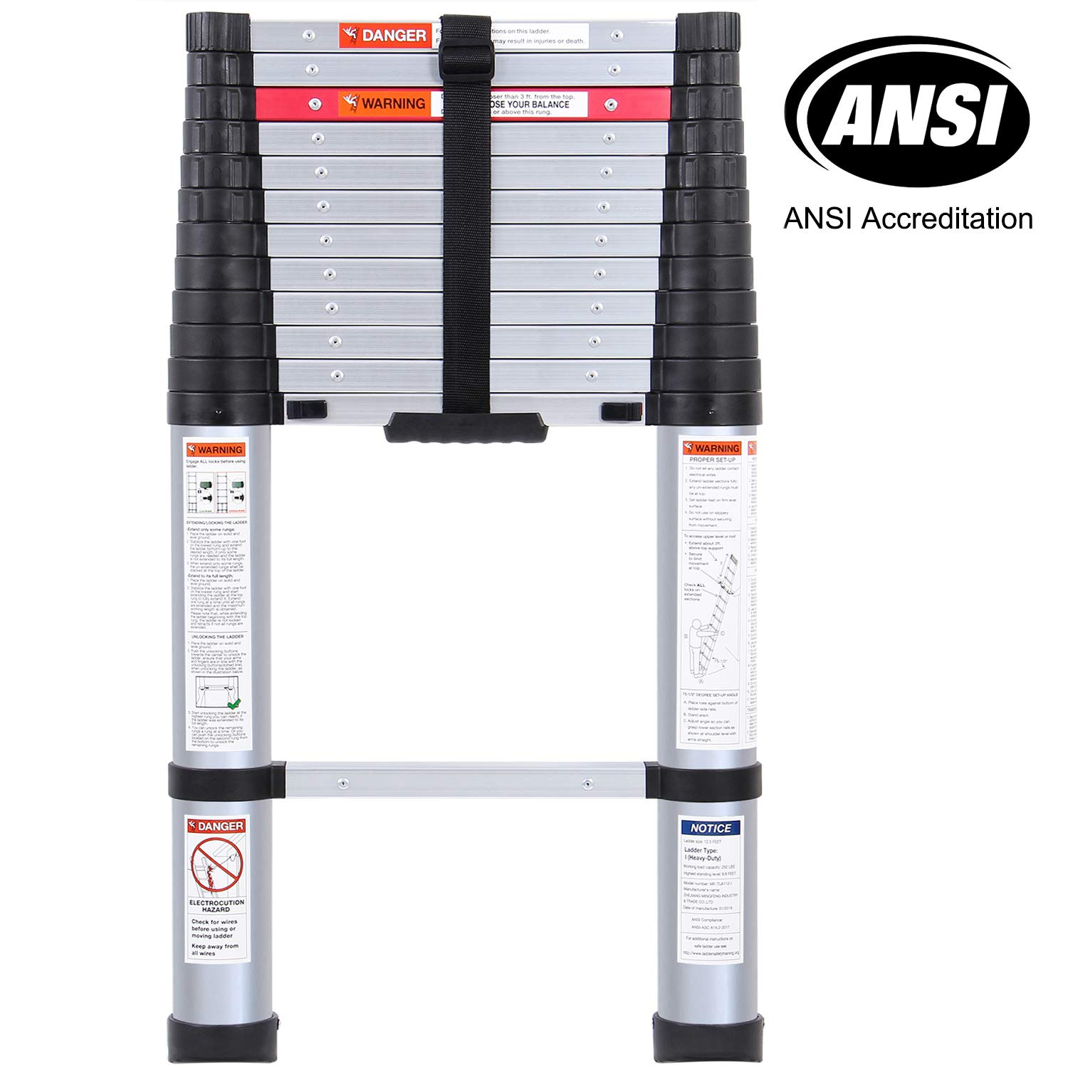 Lionladder 12.5FT ANSI Pinch-Free telescoping Slow-Down Ladder Aluminum Stretch High Multi-Purpose Telescopic