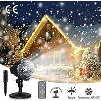 LED Projecteur de Neige,Projecteur de Noël Effet Chute de Neige,Deuxième Génération,Lamps de Projection Flocon de Neige Extérieur/Intérieur,Télécommande RF,IP65,Déco Fêtes,Mariage,Soirée,Jardin,Bar
