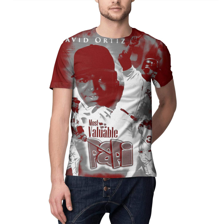 Mens Tees #50 David-Ortiz-Boston-red-34 Hemline Pattern Print T-Shirts Crewneck Short Sleeves Tops