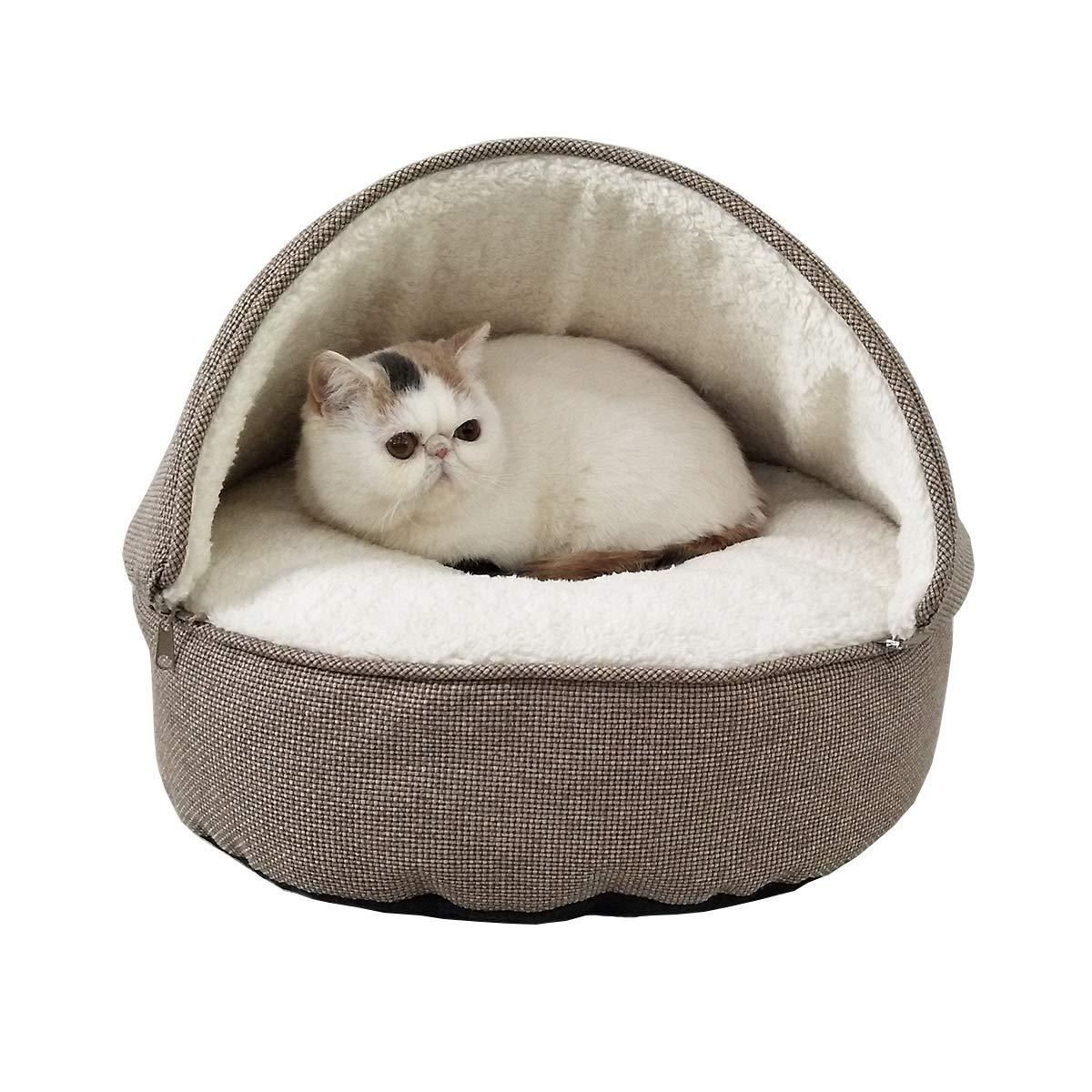 Khaki Medium Khaki Medium ACMEDE Pets House Cave Shape Pet Beds Cats Washable Pet Bed Mat (Medium, Khaki)