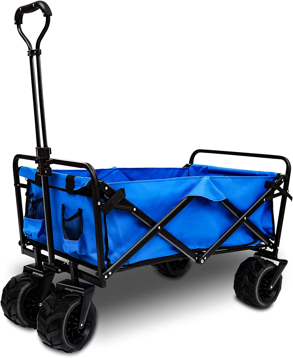 AUTENPOO Heavy Duty Utility Wagon Outdoor, Collapsible Folding Garden Carts with Adjustable Push and Pull Handle Portable Wagon Cart with Veer Wheel for Yard, Beach, Camping and Shopping