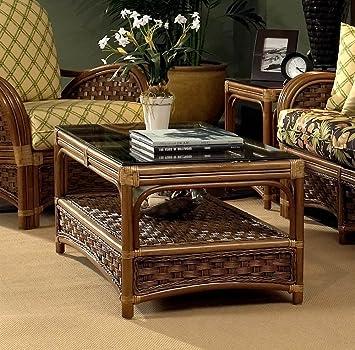 Amazon Com Pelican Rattan Coffee Table W Glass Top In Royal Oak