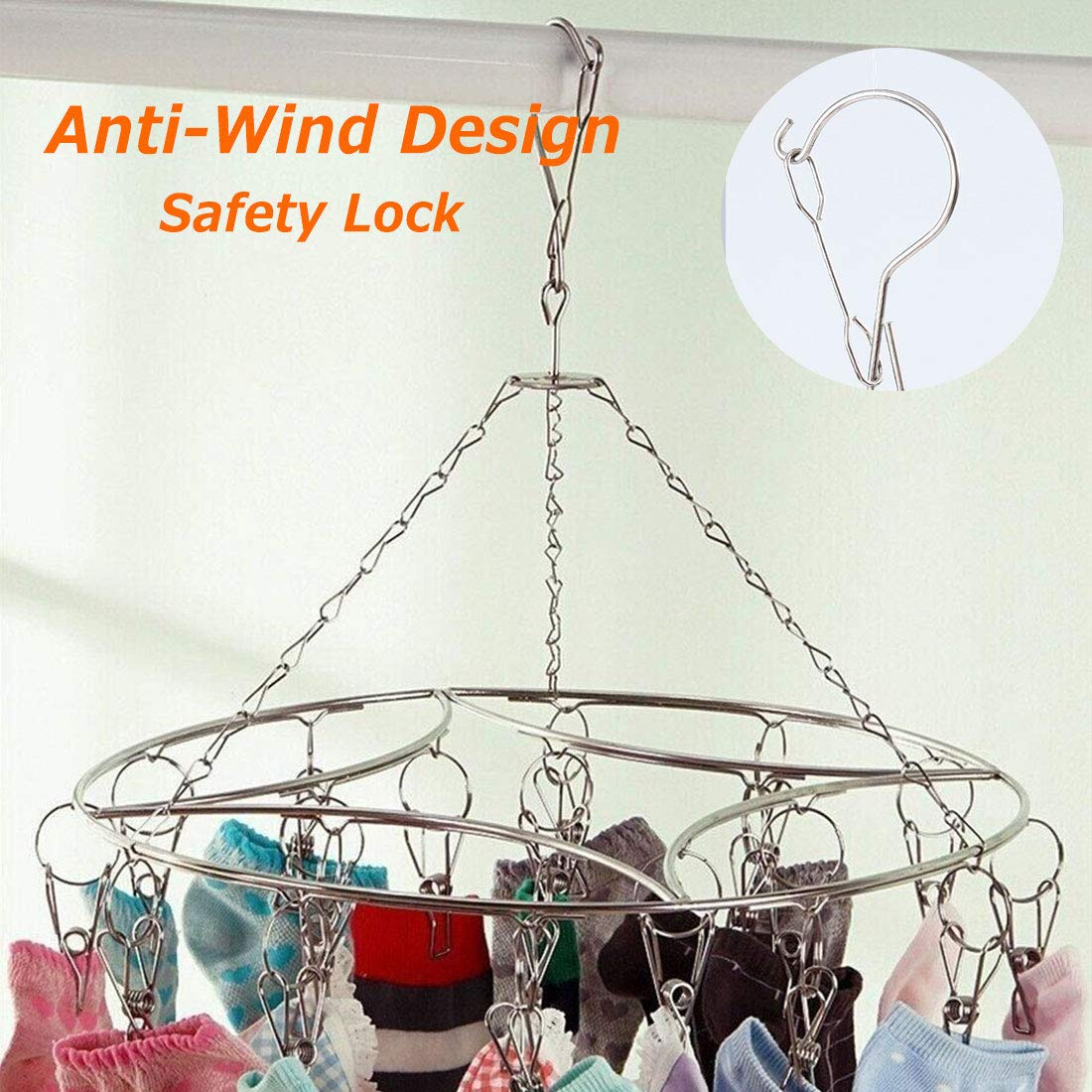 Laundry Clothes Peg Sock Underwear Washing Clothes Drying Rack Clip Hanger Airer