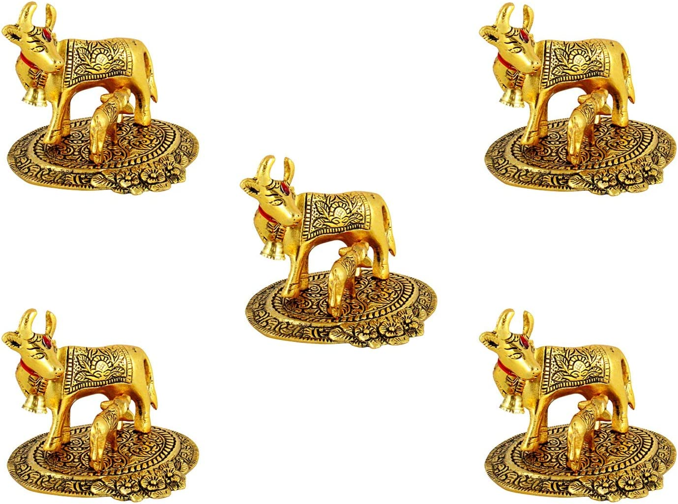 GoldGiftIdeas Oxidized Gold Plated Cow and Calf Idol (13 x 12 cm), Home Decor Showpiece for Gift, Housewarming Return Gift, Cow Statue Home Decor (Pack of 5)