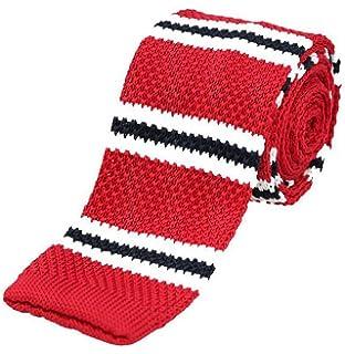 9c5d20a1a97 David Van Hagen Mens Striped Thin Knitted Silk Tie - Red White Black