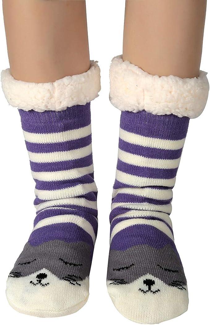 Womens Fuzzy Warm Cozy SLIPPER SOCKS Non-Slip Lined-Sherpa Plush Fleece