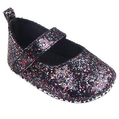 DAY8 Chaussure Bébé Fille Princesse Chic Chaussure Bébé Fille Premier Pas  Bapteme Paillettes Chaussures Fille Anti 7fbdcb56d0d0