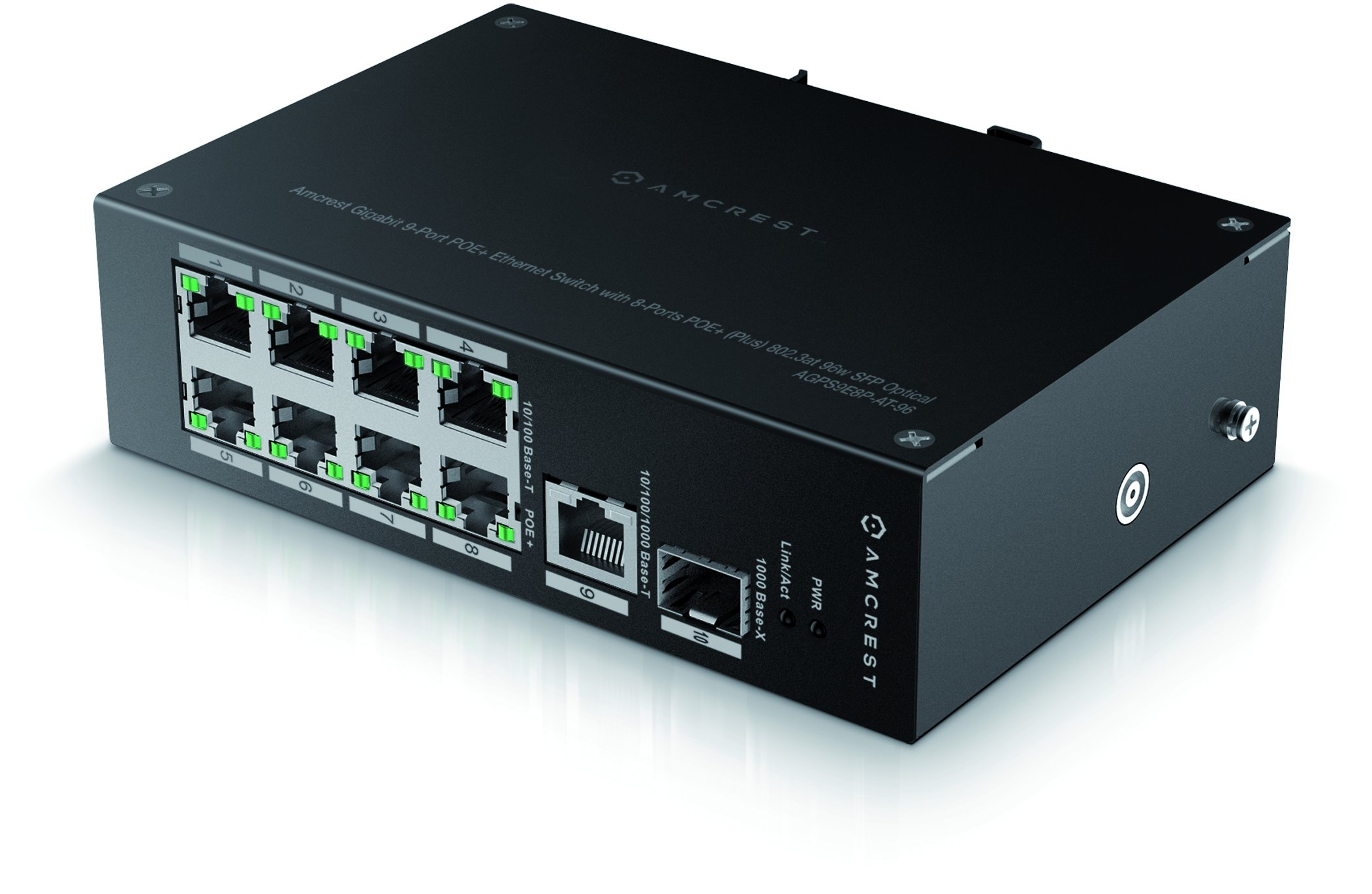 Amcrest Gigabit Uplink 9-Port POE+ Ethernet Switch Metal Housing, 8-Ports POE+ (Plus) 802.3at 96w SFP Optical (AGPS9E8P-AT-96)