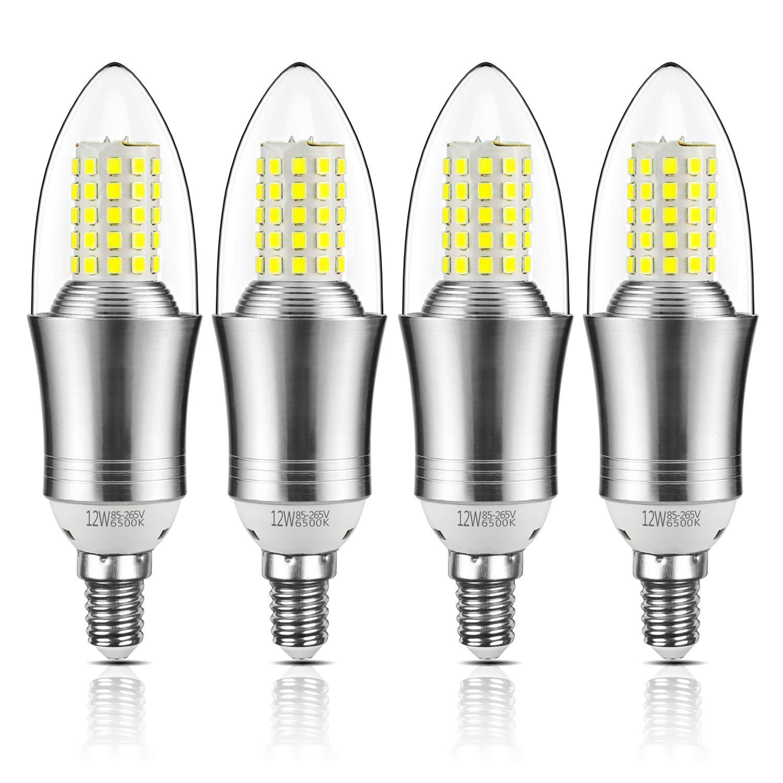 Yiizon LED vela bombillas, E14, 12W, 100W bombilla incandescente equivalente, candelabro LED bombillas, 6500K Blanco Frío, 1200 lm, CRI>80+, no regulable (4 ...