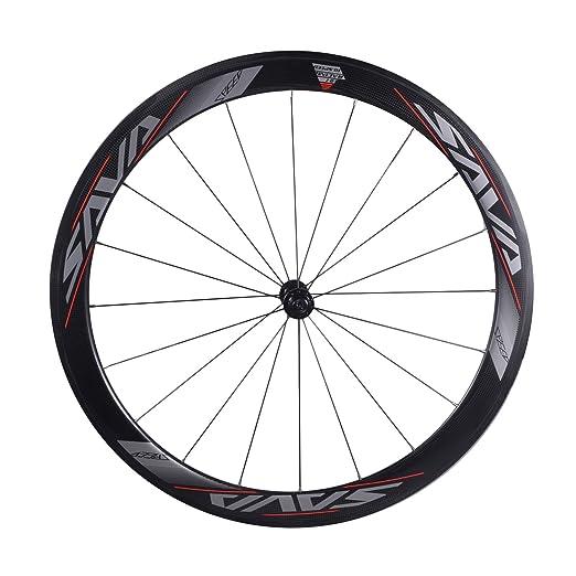 SAVA 700C Juego de Ruedas de Bicicleta de Carretera Ruedas/Llantas de T700 Fibra de Carbono Comnpleto Juego de Ruedas del Remachador 3K Compatible con ...