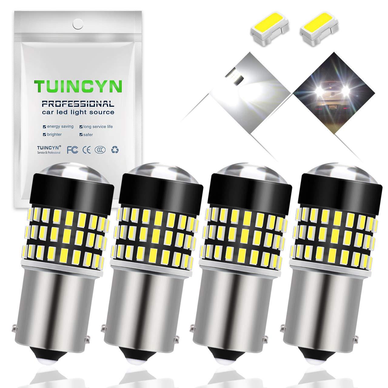 luce LED invertita fanalino posteriore Tuincyn Confezione da 2 lampadine LED rosse con lente a 900 lumen S25 7443 W21W T20 992 7440 7444NA Base 3014 78SMD per indicatori di direzione