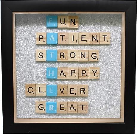 Weddecor - Marco para el día del Padre de 20,3 x 20,3 cm con Letras de Scrabble para la Familia, el hogar, la Oficina, decoración de Pared, Regalo, Madera, Negro, Without Photo: