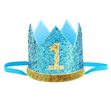 Tacobear Corona cumpleaños 1 ano Bebé Corona Diadema de Cumpleaños con Flor para Primer Cumpleaños Niño Niña Princesa (Azul + oro1)