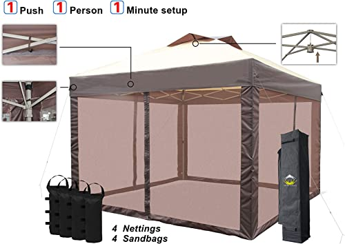 CROWN SHADES Pop up Canopy Tent Pro 11 x 11 Instant Shelter