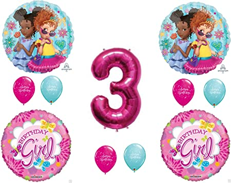 Fancy Nancy 5pc Balloon Bouquet 3rd Birthday Party Supplies Decorations Balloons