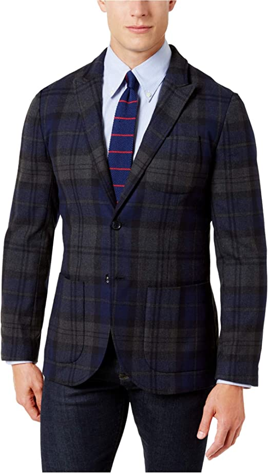 Tommy Hilfiger Mens Red Woven Plaid Two-Button Blazer Jacket 42S BHFO 7081