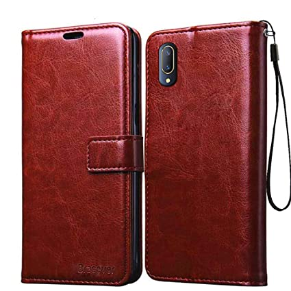 buy popular 9bec7 dd617 Bracevor Flip Cover Case for Vivo V11 Pro Leather Case | Inner TPU | Wallet  Stand - Executive Brown