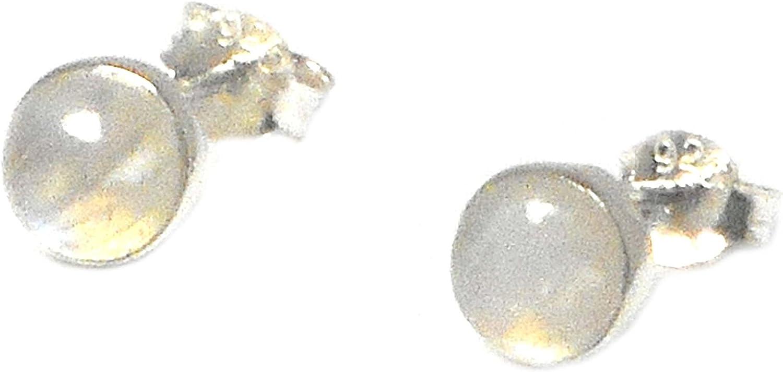 Pendientes de plata de ley 925 con piedras de luna en forma redonda, tamaño de 6 mm (MST0610171)