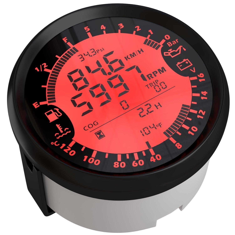 ELING 6 in 1 Multifunktionale Messgerä t GPS Tacho Tachometer Stunde Wasser Temp treibstofffü llstand Ö l Druck Voltmeter 12 V 85 mm mit Hintergrundbeleuchtung...