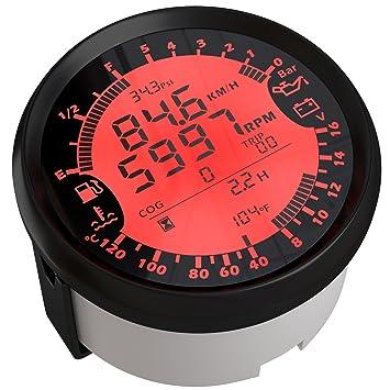 Eling 6 en 1 multifuncional medidor GPS velocímetro tacómetro Hour agua Temp presión de aceite de nivel de combustible voltímetro 12 V 85 mm con ...